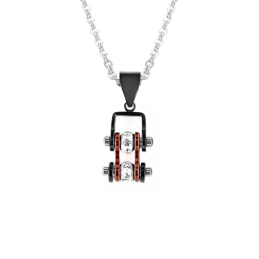 SK2006N Pendant Mini Mini Chain Link With Necklace Black Candy Red Stainless Steel