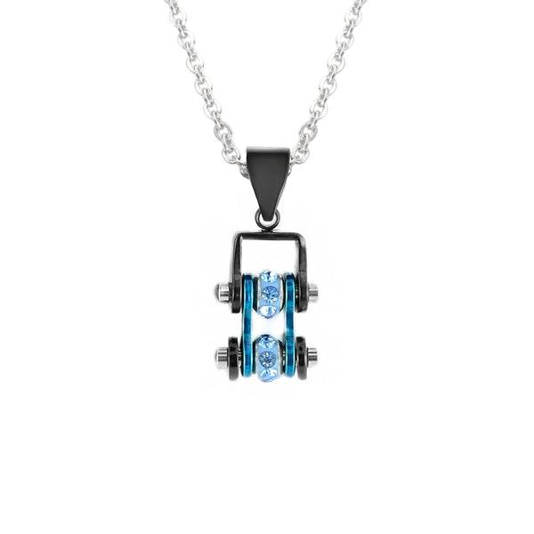 SK2202N Pendant Mini Mini Chain Link With Necklace Black Candy Blue Stainless Steel