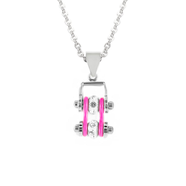 SK2018N Pendant Mini Mini Chain Link With Necklace Silver Hot Pink Stainless Steel