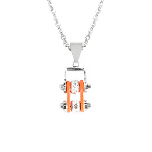 SK2002N Pendant Mini Mini Chain Link With Necklace Silver Orange Stainless Steel
