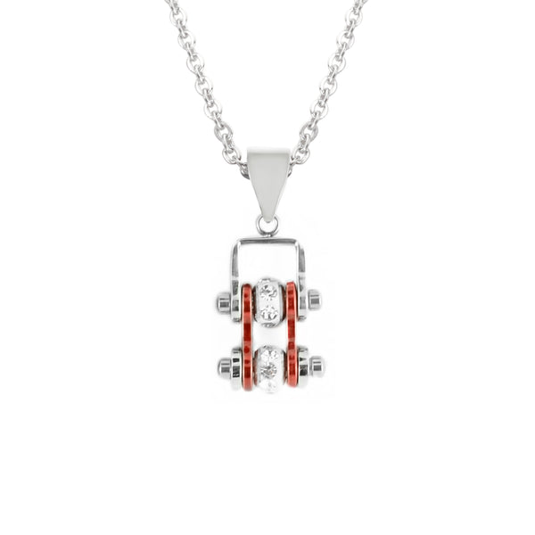 SK2014N Pendant Mini Mini Chain Link With Necklace Silver Candy Red Stainless Steel
