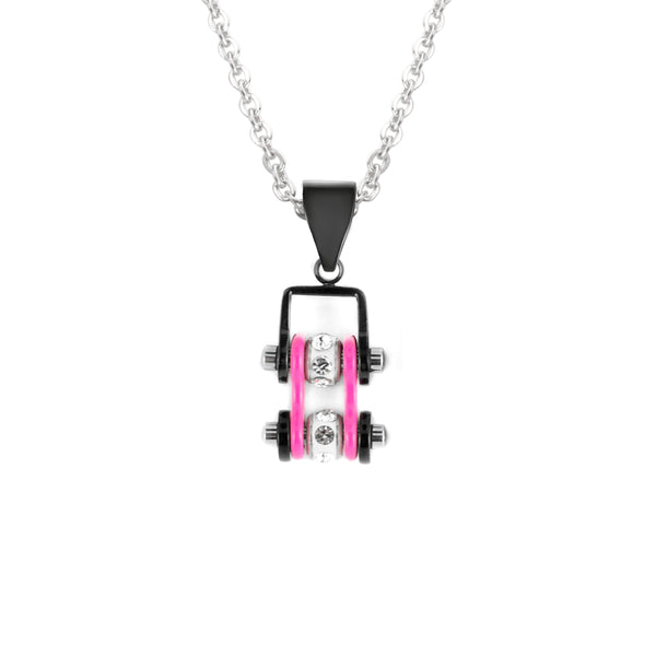 SK2097N Pendant Mini Mini Chain Link With Necklace Black Hot Pink Stainless Steel