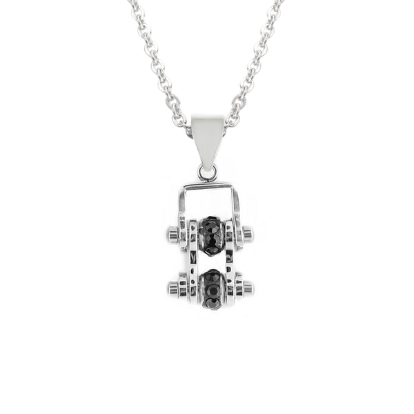SK2206N Pendant Mini Mini Chain Link With Necklace All Silver Black Stone Crystals Stainless Steel