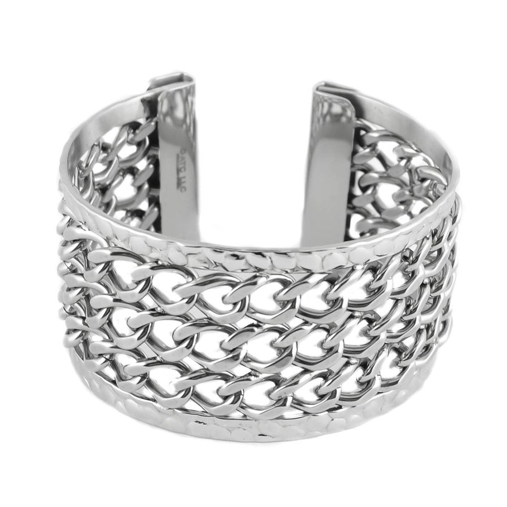 SK1362  Ladies 3 Row Chain Cuff Bracelet  Stainless Steel Motorcycle Jewelry