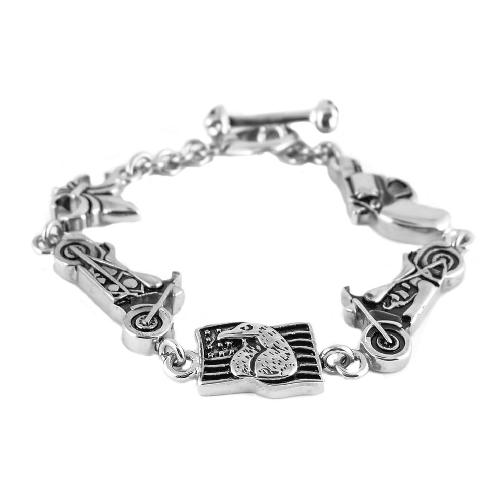 SK1380 Flag Gun Bikes Gents Bracelet  Stainless Steel Motorcycle Jewelry