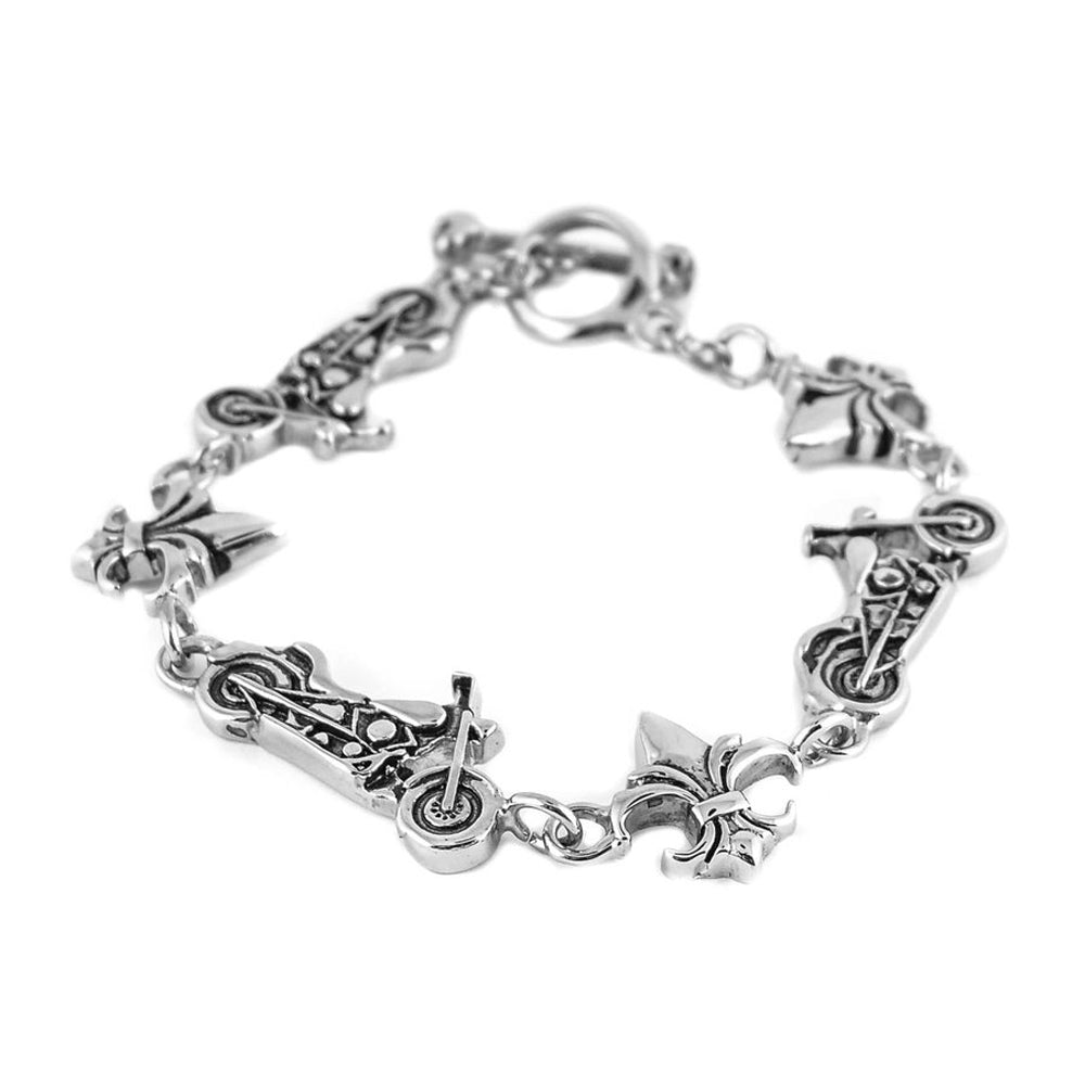 SK1388 Gents Bracelet Fleur-de-lis Bikes Large Stainless Steel Motorcycle Jewelry