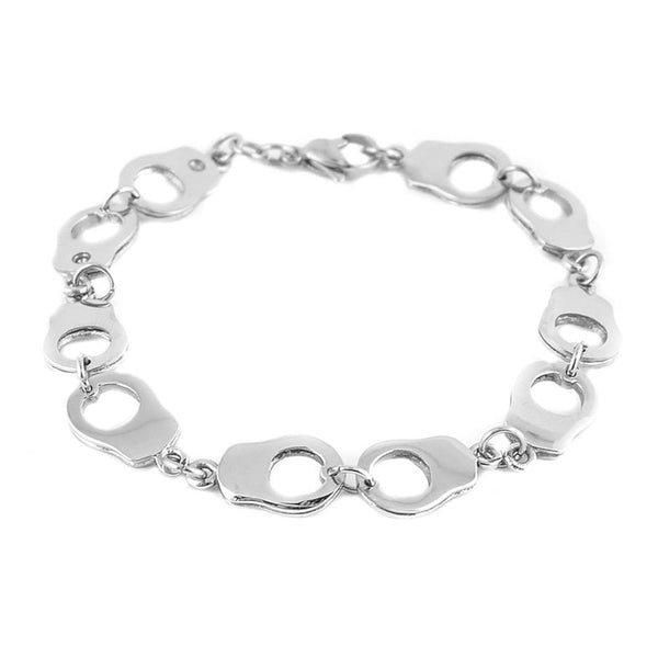 SK1450 Ladies Ten Handcuff Bracelet  Stainless Steel Motorcycle Jewelry
