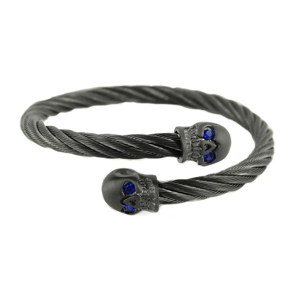 SK1857 Gunmetal Wired Skull Bracelet With Sapphire Imitation Eyes Stainless Steel Motorcycle Biker Jewelry
