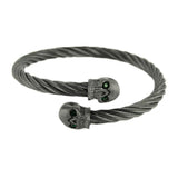 SK1859 Gunmetal Wired Skull Bracelet With Green Stone Stainless Steel Motorcycle Biker Jewelry