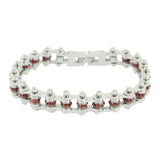 "SK2209 January Edition 3/8"" Wide All Silver    Garnet Imitation Crystal Centers"