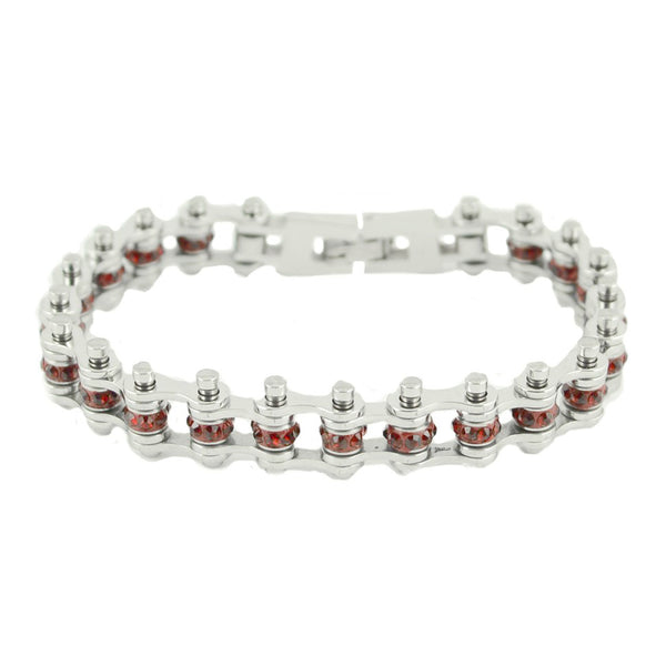 "SK2209 January Edition 1/2"" Wide All Silver    Garnet Imitation Crystal Centers"