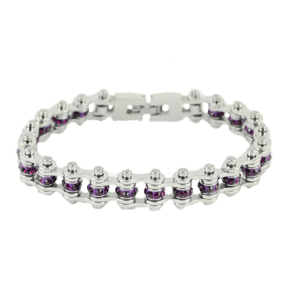 "SK2210 February Edition 3/8"" Wide All Silver    Amethyst Imitation Crystal Centers"
