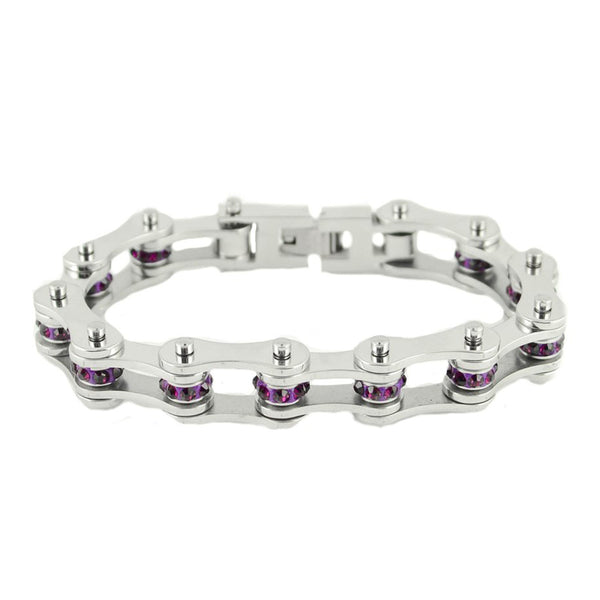 "SK2220 February Edition 1/2"" Wide All Silver   Amethyst Imitation Crystal Centers"