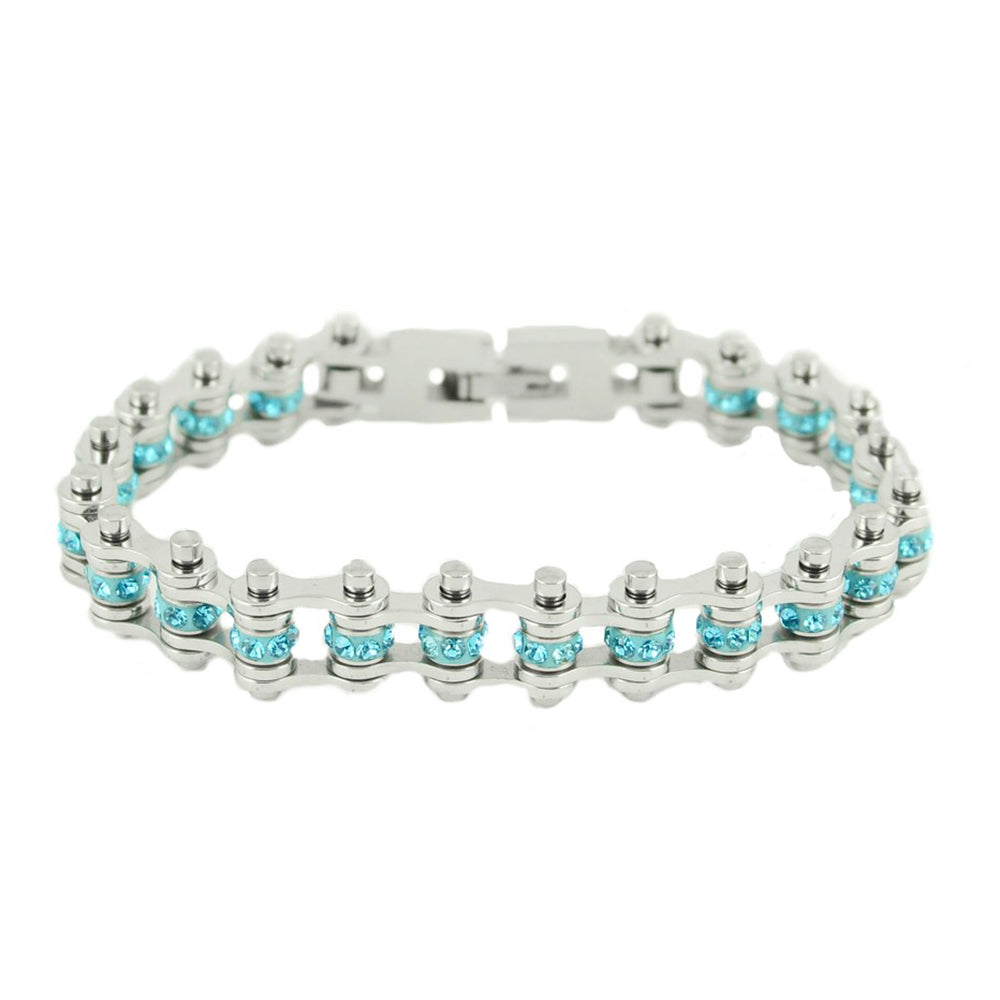 "SK2211 March Edition 3/8"" Wide All Silver    Aquamarine Imitation Crystal Centers"