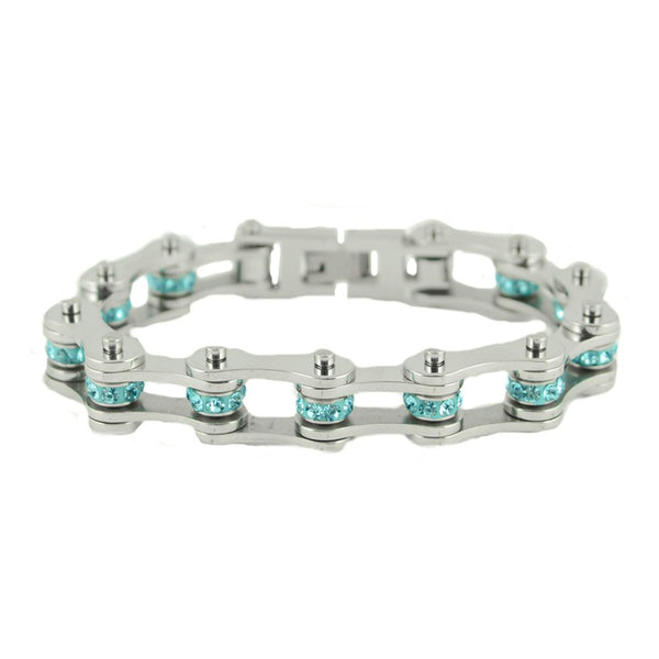 "SK2221 March Edition 1/2"" Wide All Silver   Aquamarine Imitation Crystal Centers"