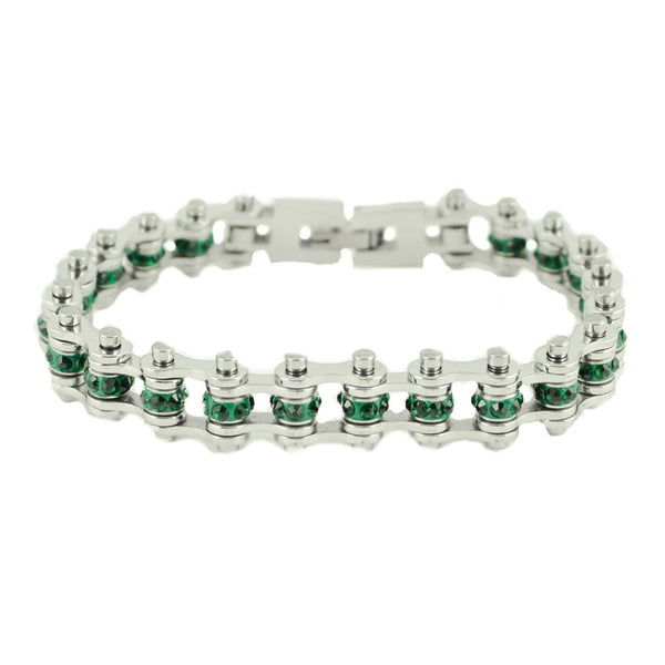 "SK2212 May Edition 3/8"" Wide All Silver Emerald Imitation Crystal Centers Birthstone Bracelet"