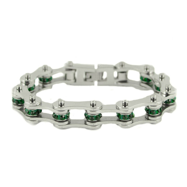 "SK2222 May Edition 1/2"" Wide All Silver   Emerald Imitation Crystal Centers"