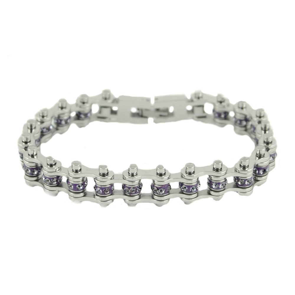 "SK2213 June Edition 3/8"" Wide All Silver    Alexandrite Imitation Crystal Centers"