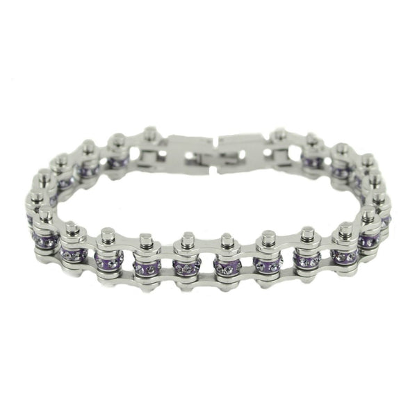 "SK2213 June Edition 1/2"" Wide All Silver    Alexandrite Imitation Crystal Centers"