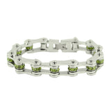 "SK2224 August Edition 1/2"" Wide All Silver   Peridot Imitation Crystal Centers"