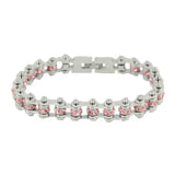 "SK2216 October Edition 3/8"" Wide All Silver Pink Tourmaline Imitation Crystal Centers"