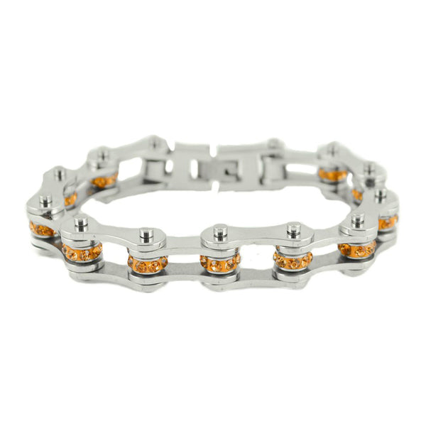 "SK2226 November Edition 1/2"" Wide All Silver  Citrine Imitation Crystal Centers"