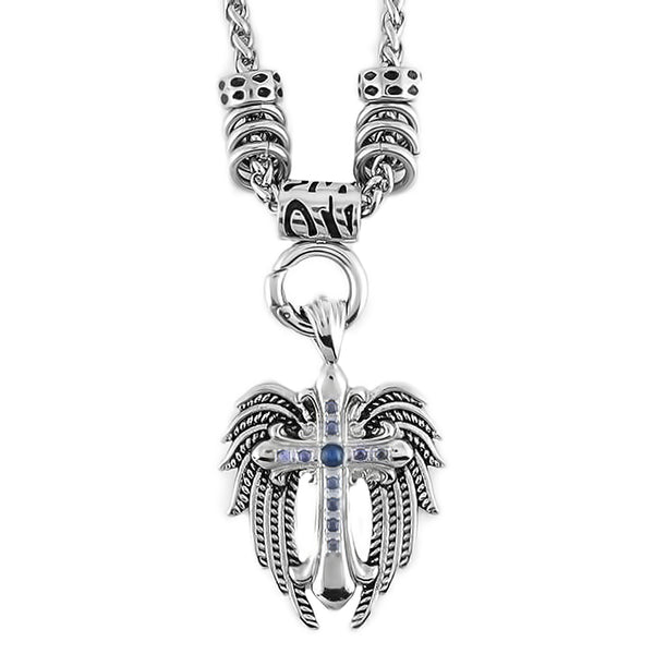 "SK1777BLU Stainless Steel Ladies Angel Wing & Cross Blue Bling Pendant With 4mm Foxtail Necklace  Necklace 19"" $60.00"
