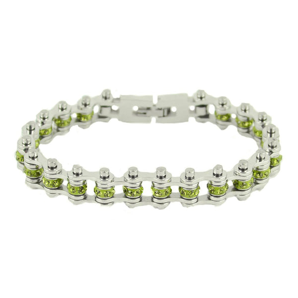 "SK2215 August Edition 3/8"" Wide All Silver Peridot Imitation Crystal Centers Bike Chain Bracelet"