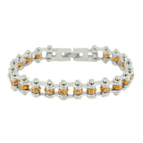 "SK2217 November Edition 3/8"" Wide All Silver     Citrine Imitation Crystal Centers"