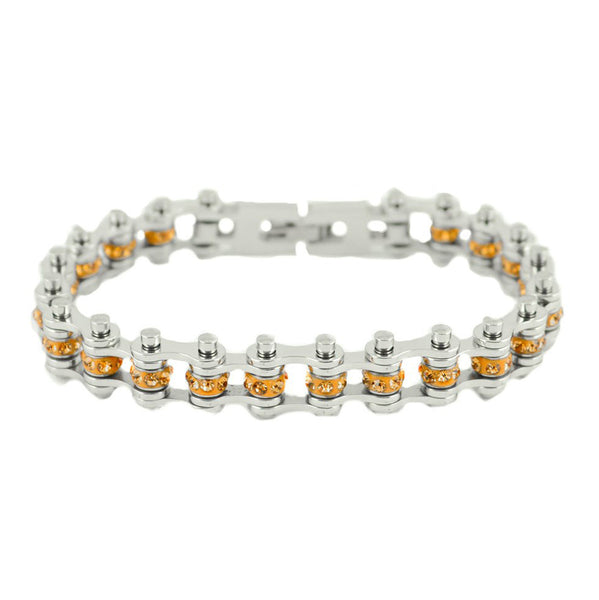 "SK2217 November Edition 1/2"" Wide All Silver     Citrine Imitation Crystal Centers"