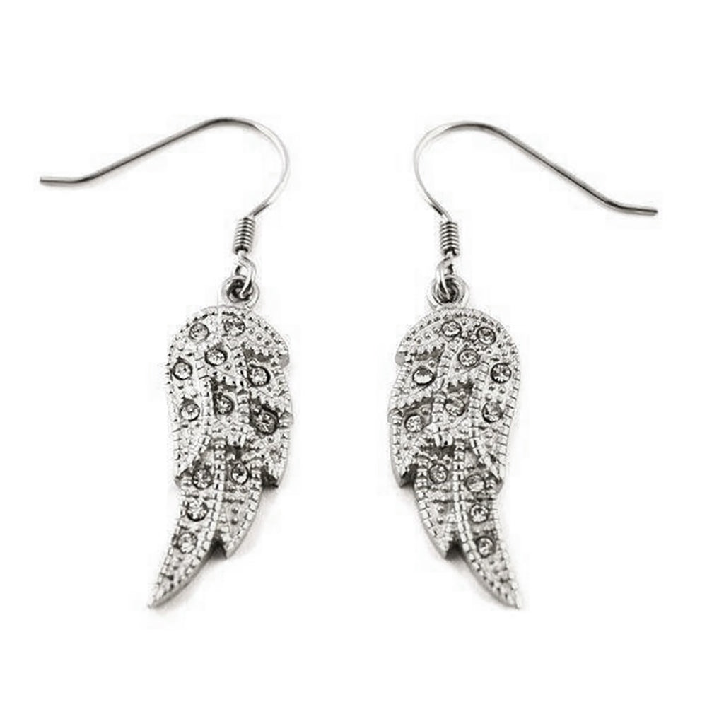 SK2235 Wing  Earrings Bling French Wire Or Leverback