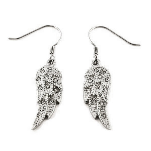 SK2235B Wing  Earrings Bling French Wire