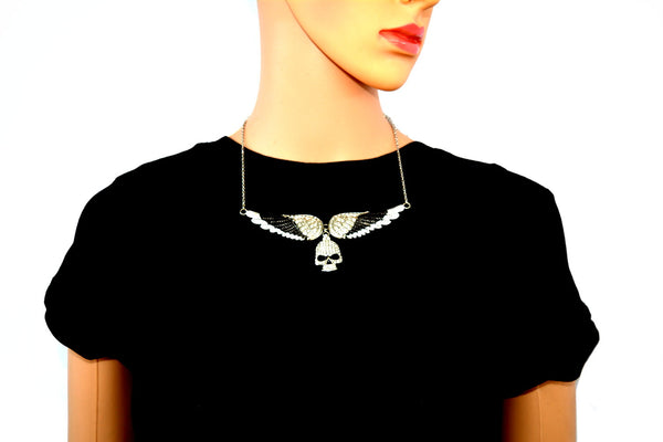 SK2309 Large Black Painted Winged Necklace With Skull White Imitation Crystals