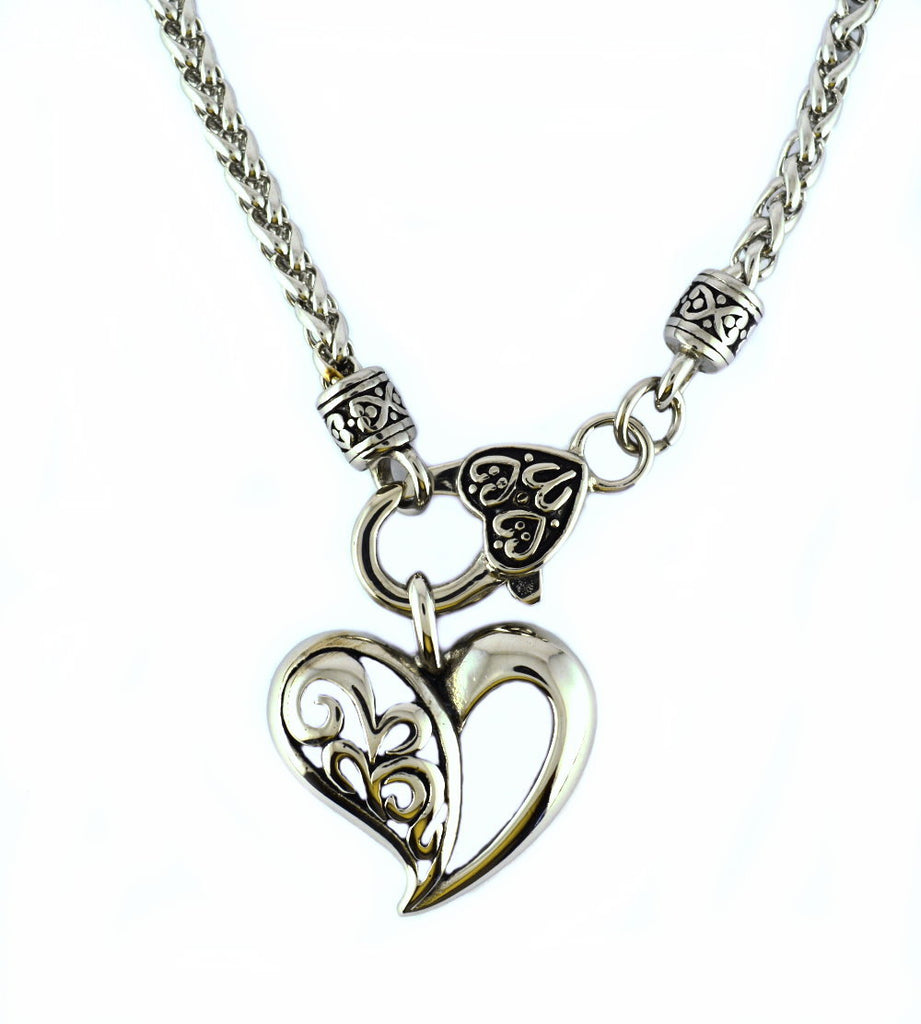 "SK2350 Heart Pendant With 24"" Necklace 4 Millimeter"