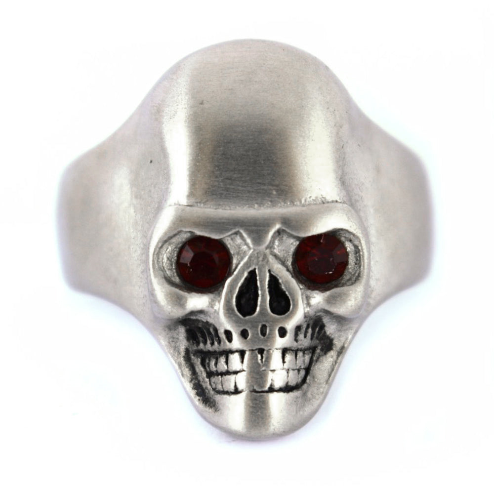 SK2301 BRUSHED FINISH Skull Ring Imitation Black Eyes Stainless Steel Solid Inside