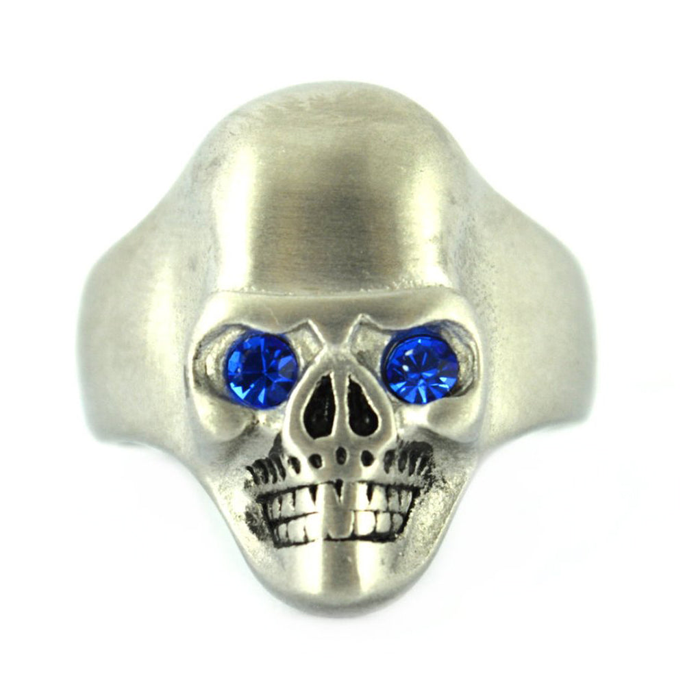 SK2300 BRUSHED FINISH Skull Ring Imitation Blue Sapphire Eyes Stainless Steel Solid Inside