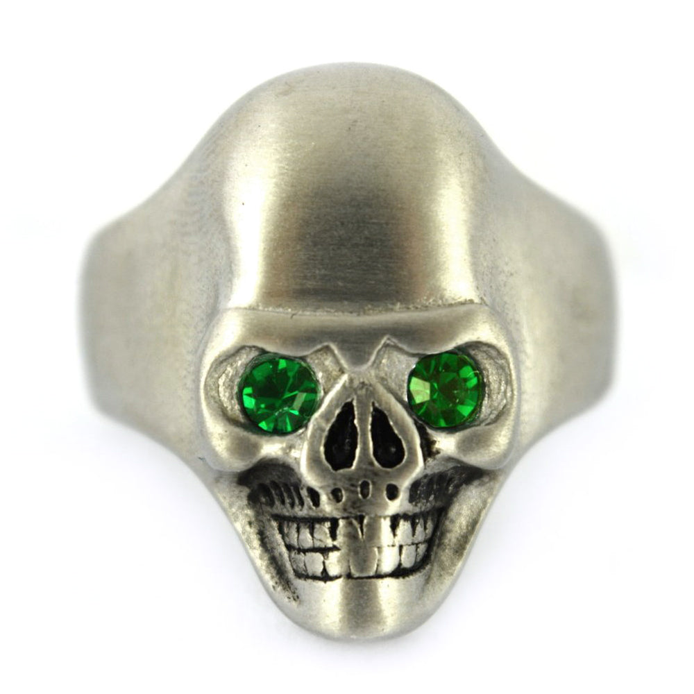 SK2303 Brushed Finish Skull Ring Imitation Green Emerald Stone Eyes Stainless Steel Solid Inside