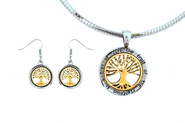 SK2545 Tree Of Life Pendant Matching Earrings With Omega Necklace Stainless Steel Jewelry