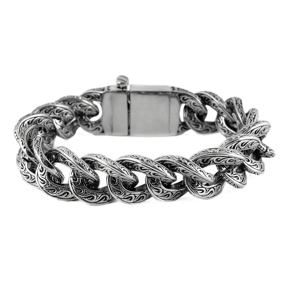 SK1792 Unisex 25MM Fancy Design Bracelet Stainless Steel Motorcycle Jewelry