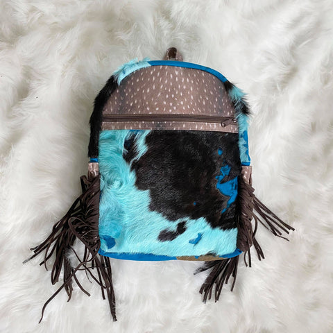 Blue Fringe Cowhide Backpack