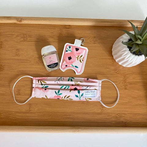 Pink Floral Mask and Sanitizer Set