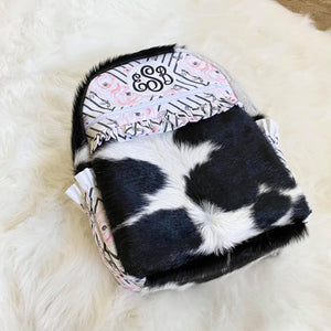 Black and White Floral Cowhide Backpack