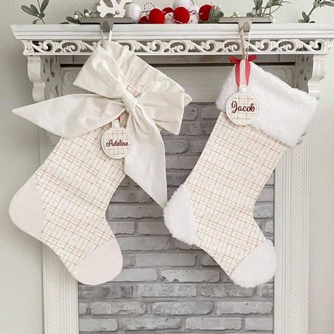 White Plaid Christmas Stocking