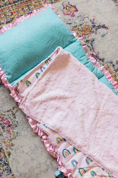 Pink Rainbow Nap Mat Roll Up