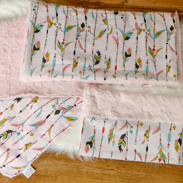Pink Nap Mat Cover with Blanket and Pillow Case Handmade by Carli's Closet