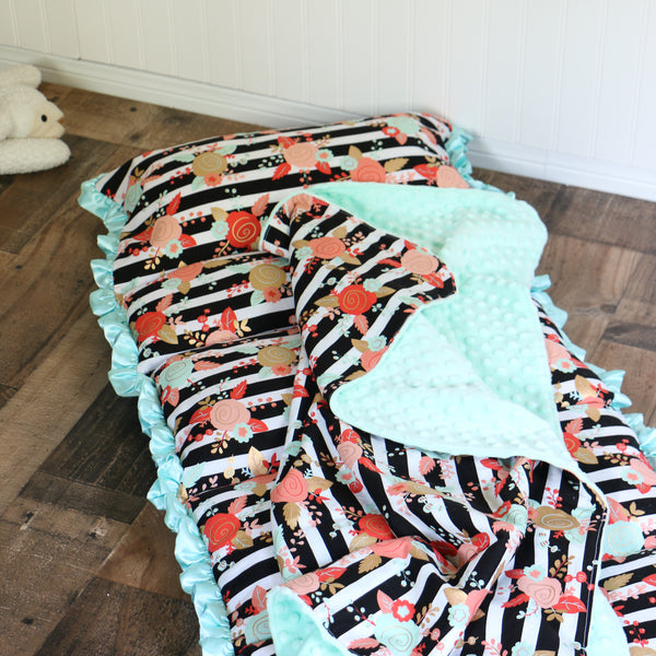 Floral Stripe Nap Mat Roll Up - Carli's Closet