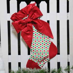 Polka Dot Christmas Stocking