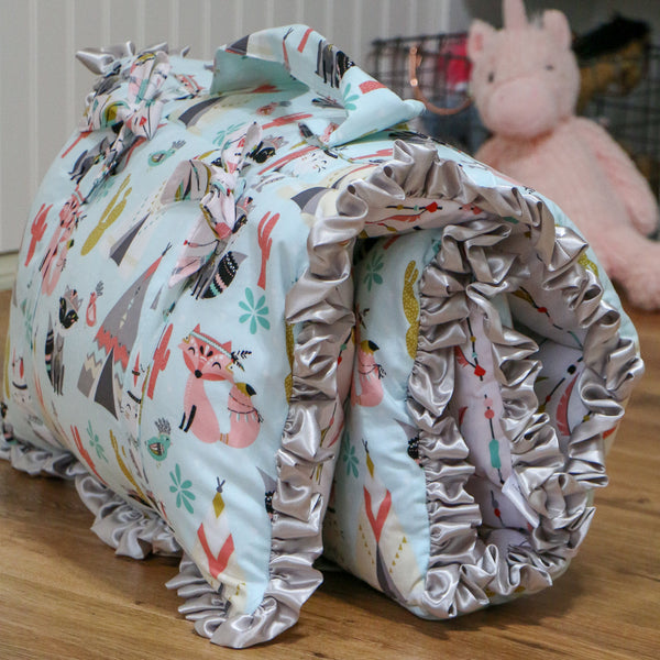Girls Woodland Animal Nap Mat Roll Up Handmade by Carli's Closet