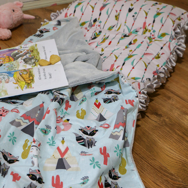 Girls Preschool Nap Mat Roll Up Handmade by Carli's Closet