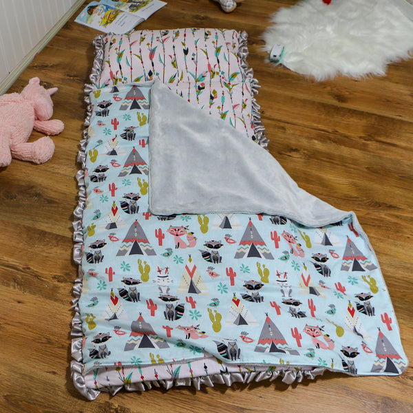 Girls  Tribal Fox Nap Mat Roll Up Handmade by Carli's Closet